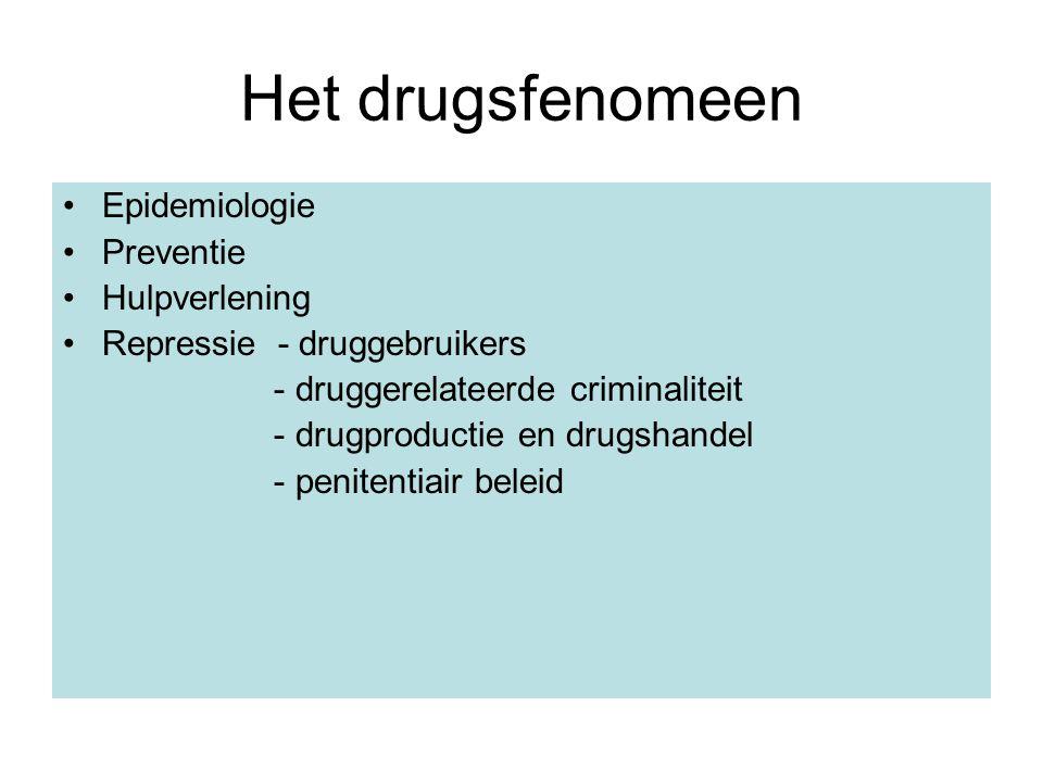 Het drugsfenomeen Epidemiologie Preventie Hulpverlening