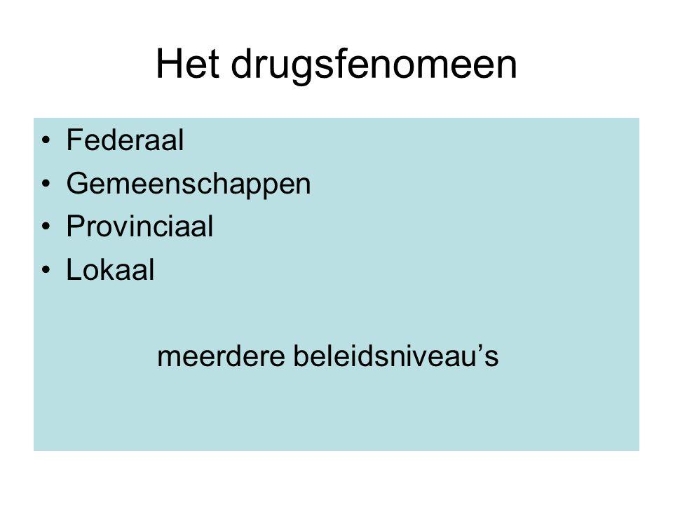 Het drugsfenomeen Federaal Gemeenschappen Provinciaal Lokaal