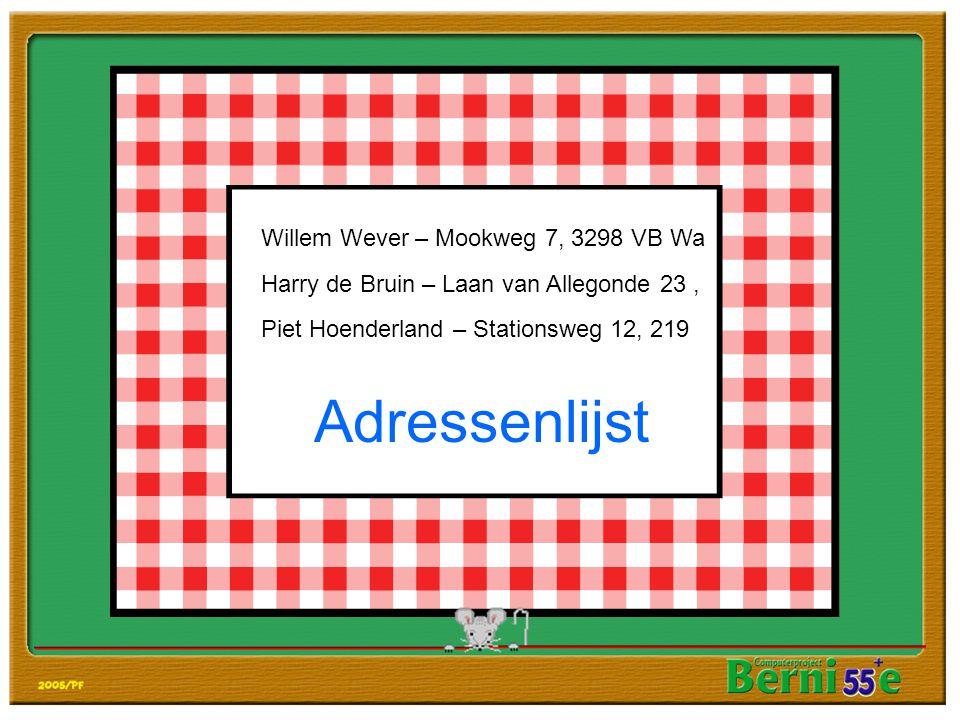 Adressenlijst Willem Wever – Mookweg 7, 3298 VB Wa