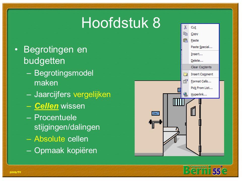 Hoofdstuk 8 Begrotingen en budgetten Begrotingsmodel maken