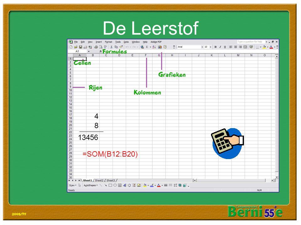 De Leerstof 4 8 13456 =SOM(B12:B20)