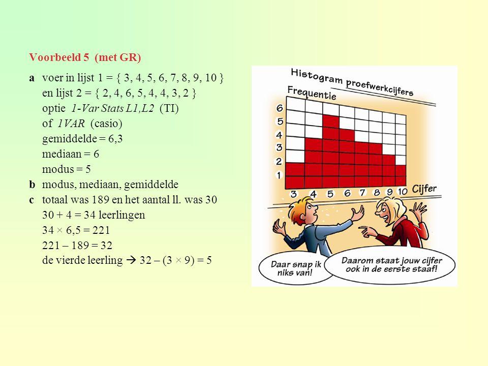 Voorbeeld 5 (met GR) a voer in lijst 1 = { 3, 4, 5, 6, 7, 8, 9, 10 } en lijst 2 = { 2, 4, 6, 5, 4, 4, 3, 2 }