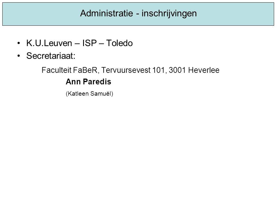 Administratie - inschrijvingen
