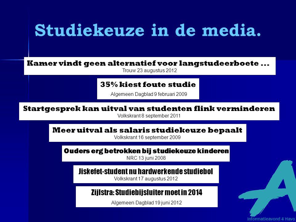 Studiekeuze in de media.