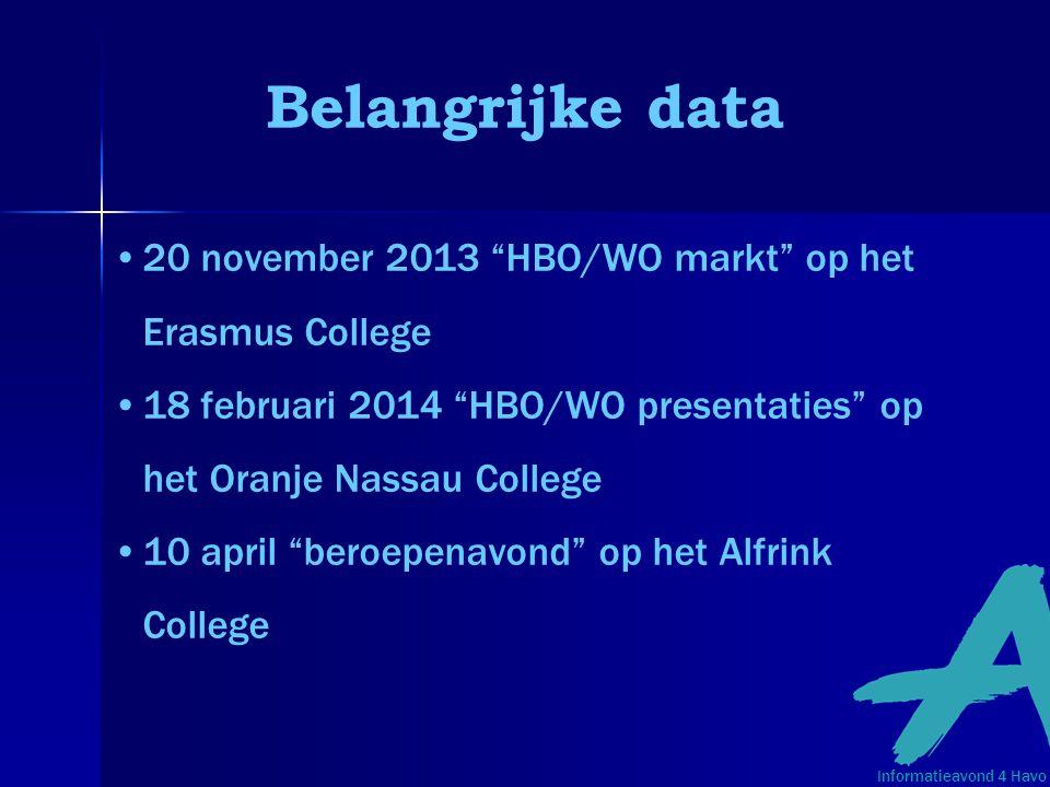Belangrijke data 20 november 2013 HBO/WO markt op het Erasmus College. 18 februari 2014 HBO/WO presentaties op het Oranje Nassau College.