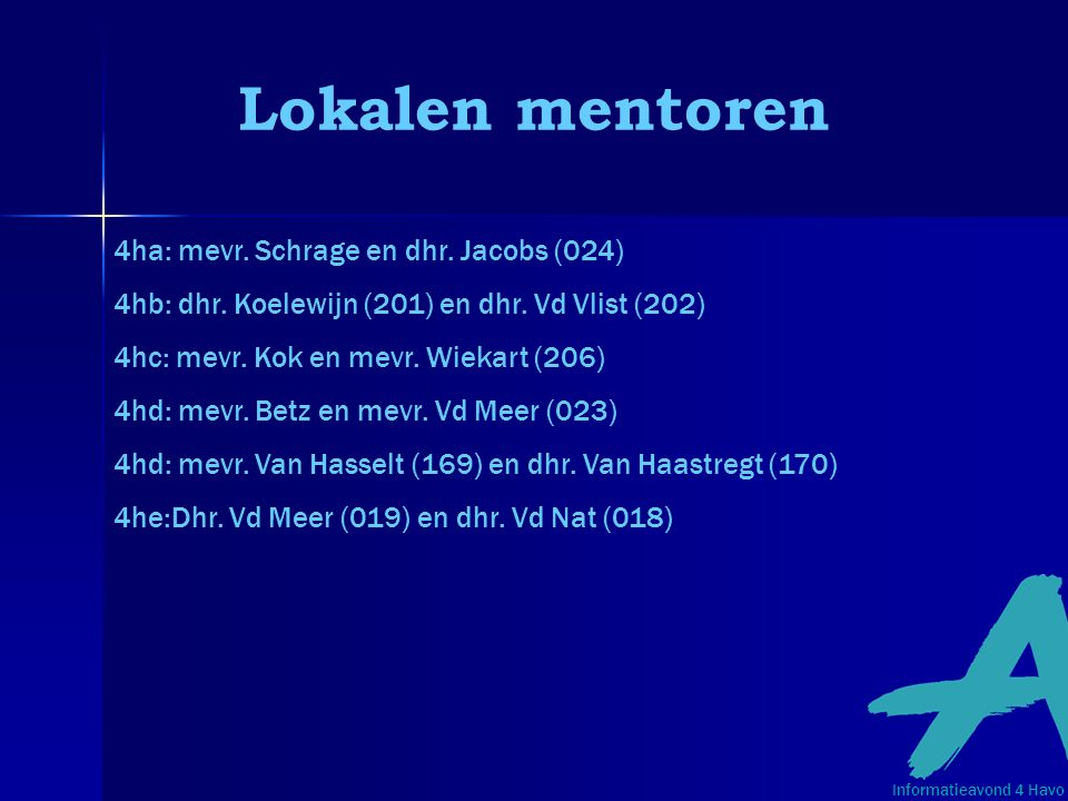 Lokalen mentoren 4ha: mevr. Schrage en dhr. Jacobs (024)
