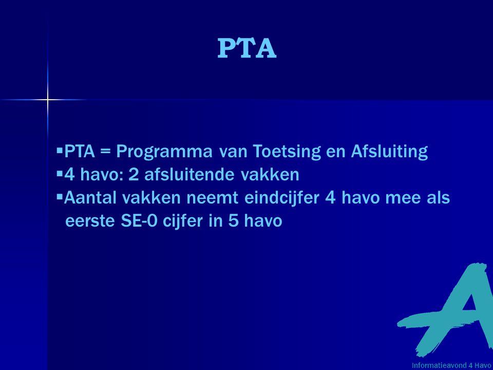 PTA PTA = Programma van Toetsing en Afsluiting