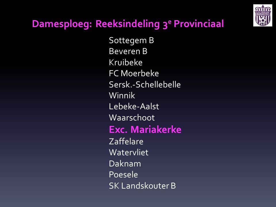 Damesploeg: Reeksindeling 3e Provinciaal