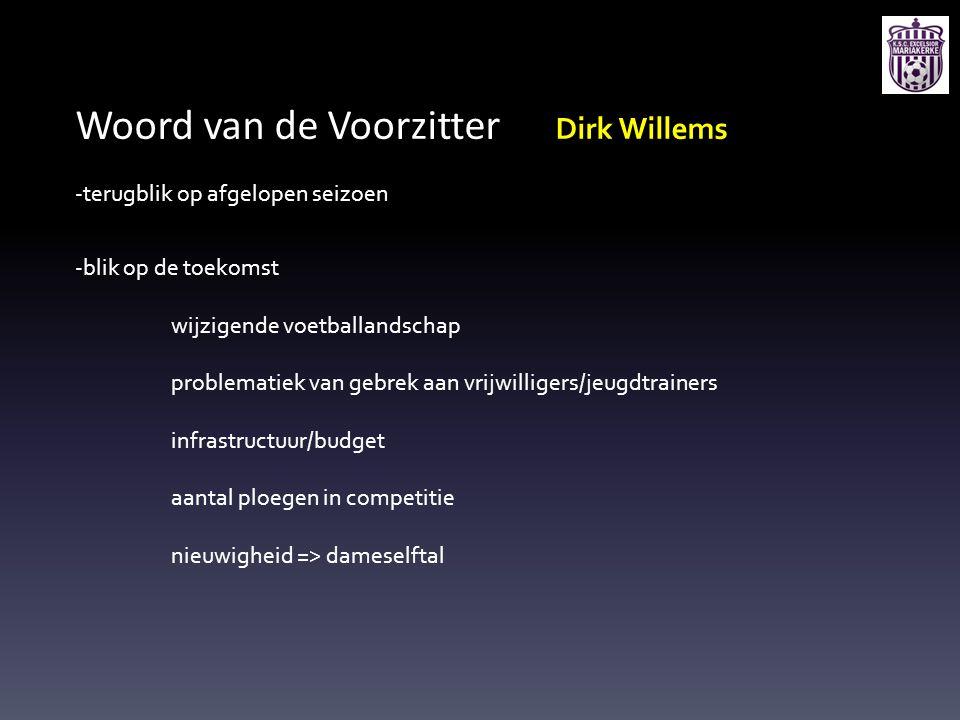 Woord van de Voorzitter Dirk Willems