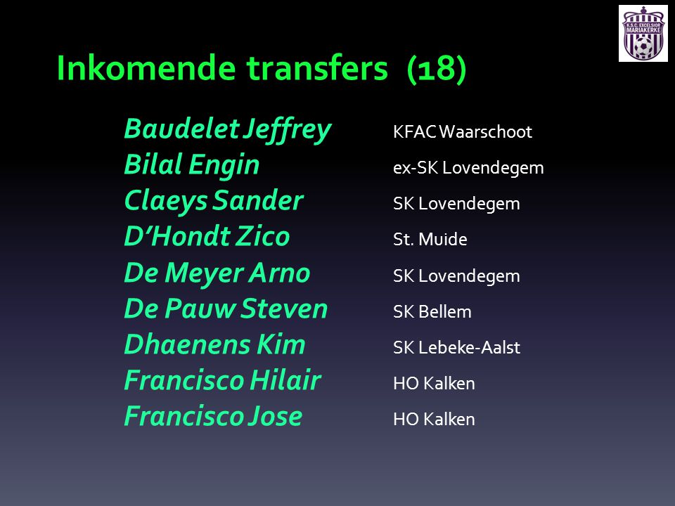 Inkomende transfers (18)