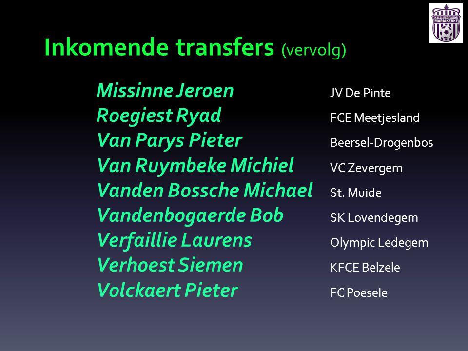 Inkomende transfers (vervolg)