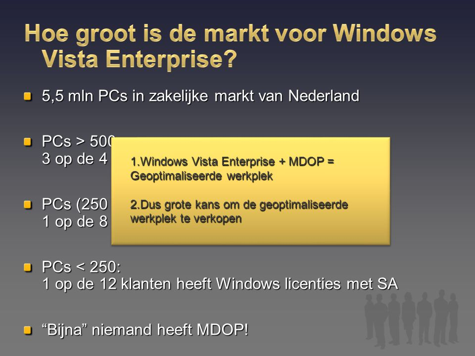 Hoe groot is de markt voor Windows Vista Enterprise