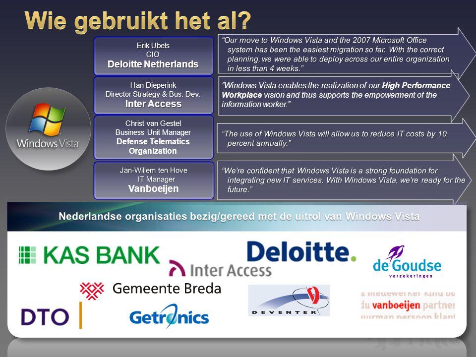 Nederlandse organisaties bezig/gereed met de uitrol van Windows Vista
