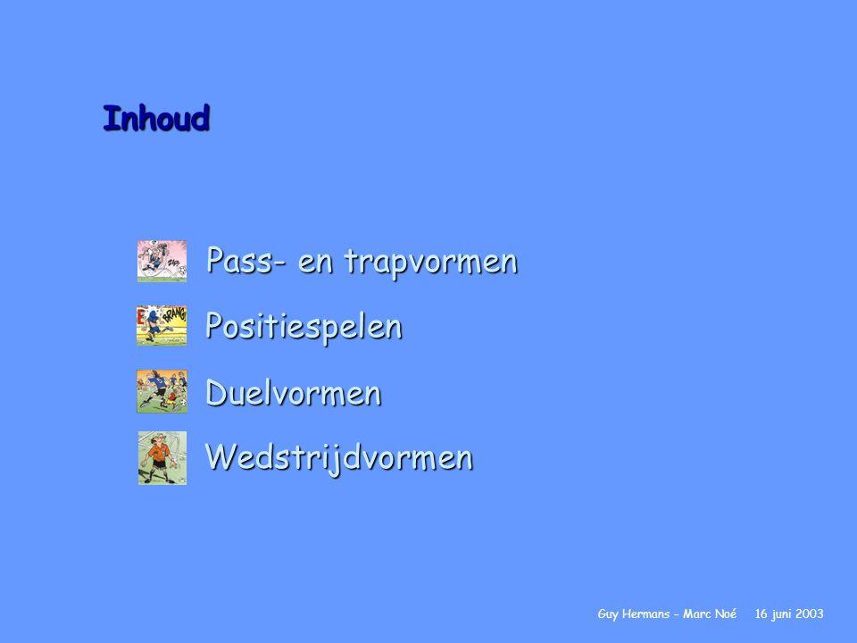 Inhoud Pass- en trapvormen Positiespelen Duelvormen Wedstrijdvormen