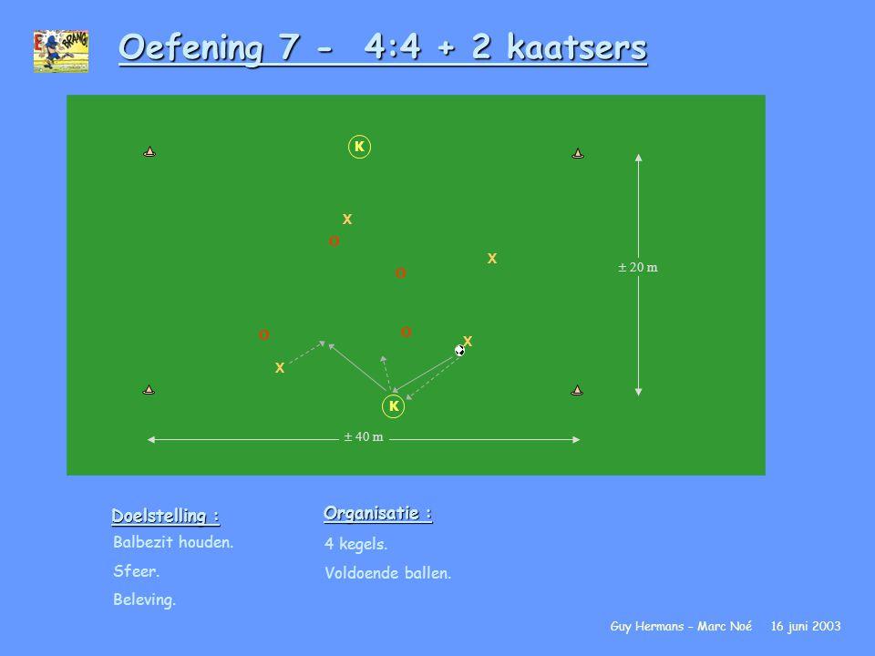 Oefening 7 - 4:4 + 2 kaatsers Organisatie : Doelstelling :