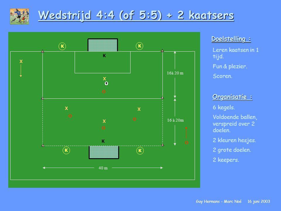 Wedstrijd 4:4 (of 5:5) + 2 kaatsers