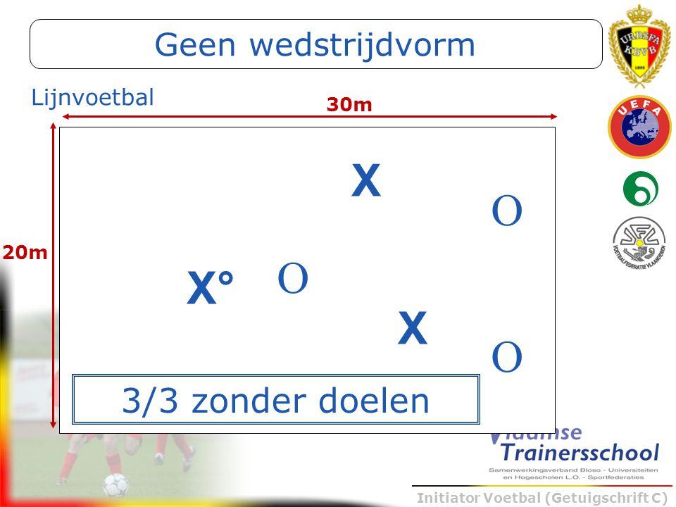 Geen wedstrijdvorm Lijnvoetbal 30m X O 20m O X° X O 3/3 zonder doelen