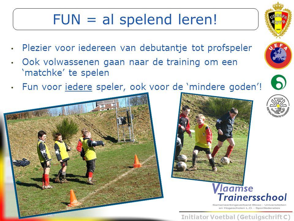 FUN = al spelend leren! Plezier voor iedereen van debutantje tot profspeler. Ook volwassenen gaan naar de training om een 'matchke' te spelen.