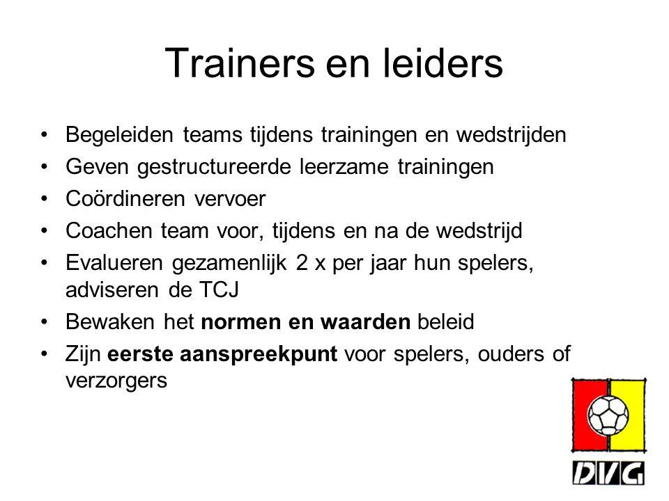 Trainers en leiders Begeleiden teams tijdens trainingen en wedstrijden