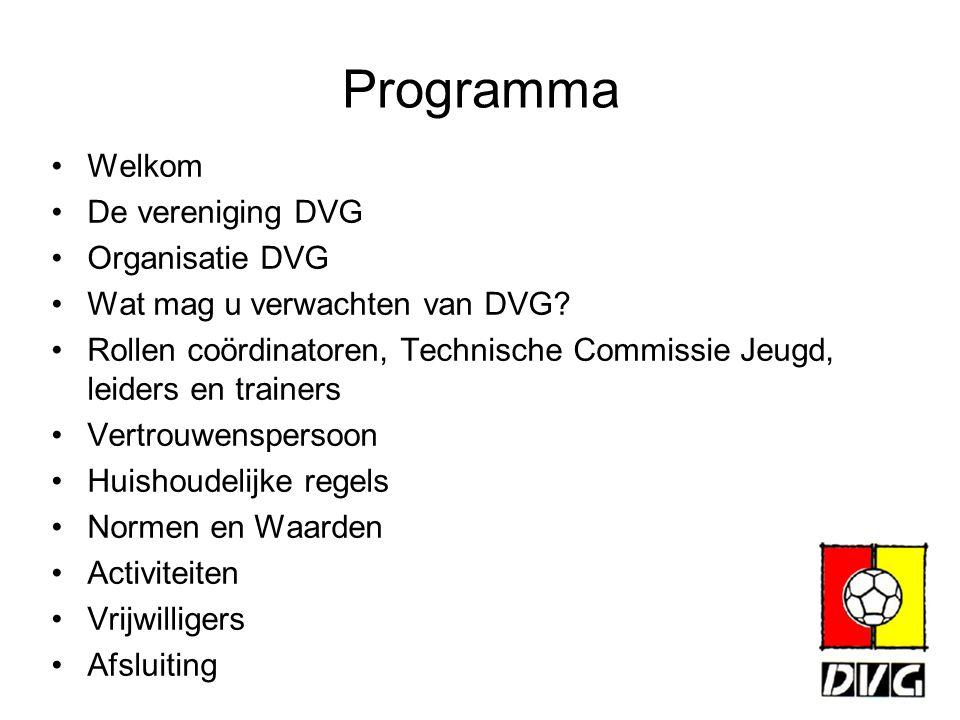 Programma Welkom De vereniging DVG Organisatie DVG