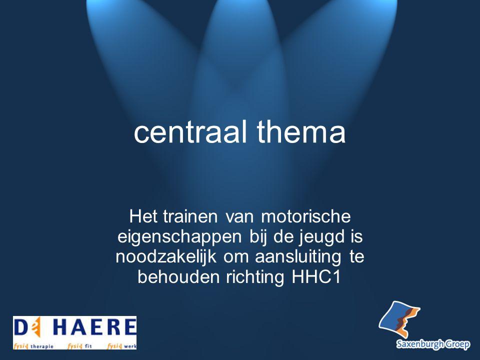 centraal thema Het trainen van motorische eigenschappen bij de jeugd is noodzakelijk om aansluiting te behouden richting HHC1.