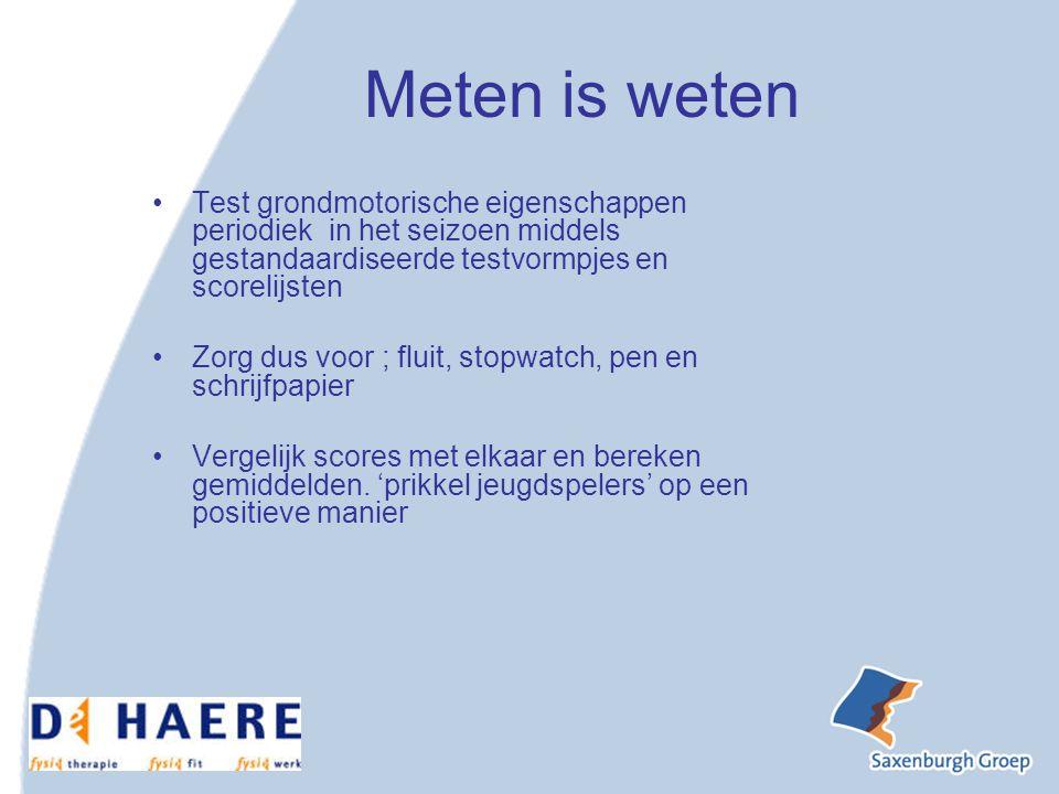 Meten is weten Test grondmotorische eigenschappen periodiek in het seizoen middels gestandaardiseerde testvormpjes en scorelijsten.