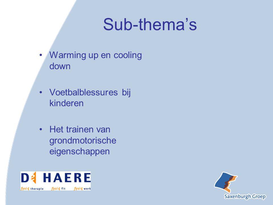 Sub-thema's Warming up en cooling down Voetbalblessures bij kinderen