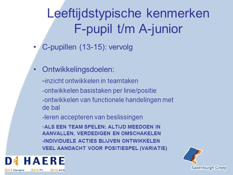 Leeftijdstypische kenmerken F-pupil t/m A-junior
