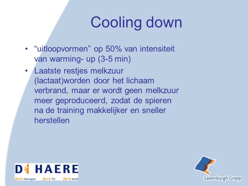 Cooling down uitloopvormen op 50% van intensiteit van warming- up (3-5 min)