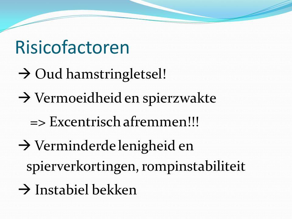 Risicofactoren  Oud hamstringletsel!  Vermoeidheid en spierzwakte