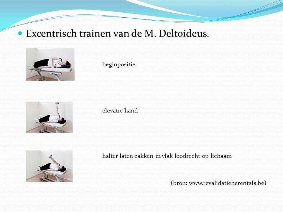 Excentrisch trainen van de M. Deltoideus. beginpositie