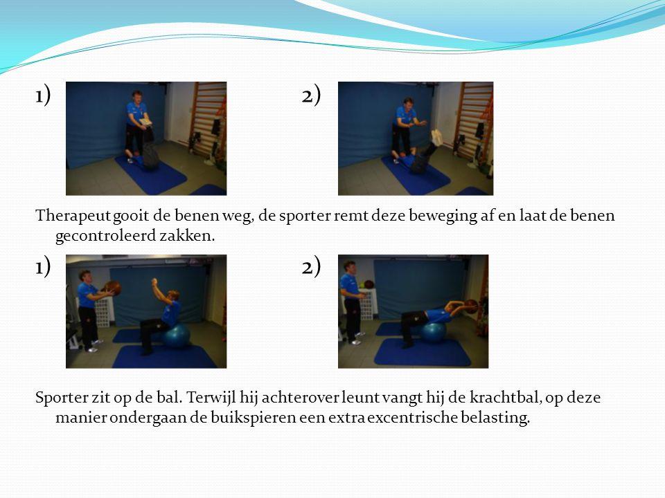 1) 2) Therapeut gooit de benen weg, de sporter remt deze beweging af en laat de benen gecontroleerd zakken.