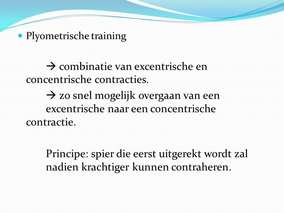  combinatie van excentrische en concentrische contracties.