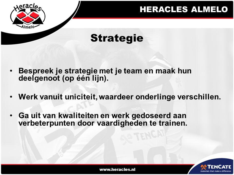 Strategie Bespreek je strategie met je team en maak hun deelgenoot (op één lijn). Werk vanuit uniciteit, waardeer onderlinge verschillen.