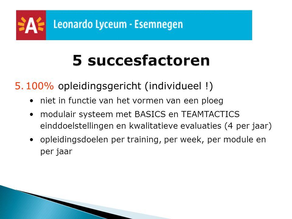 5 succesfactoren 100% opleidingsgericht (individueel !)