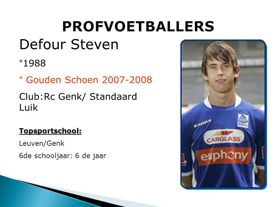 PROFVOETBALLERS Defour Steven °1988 ° Gouden Schoen 2007-2008