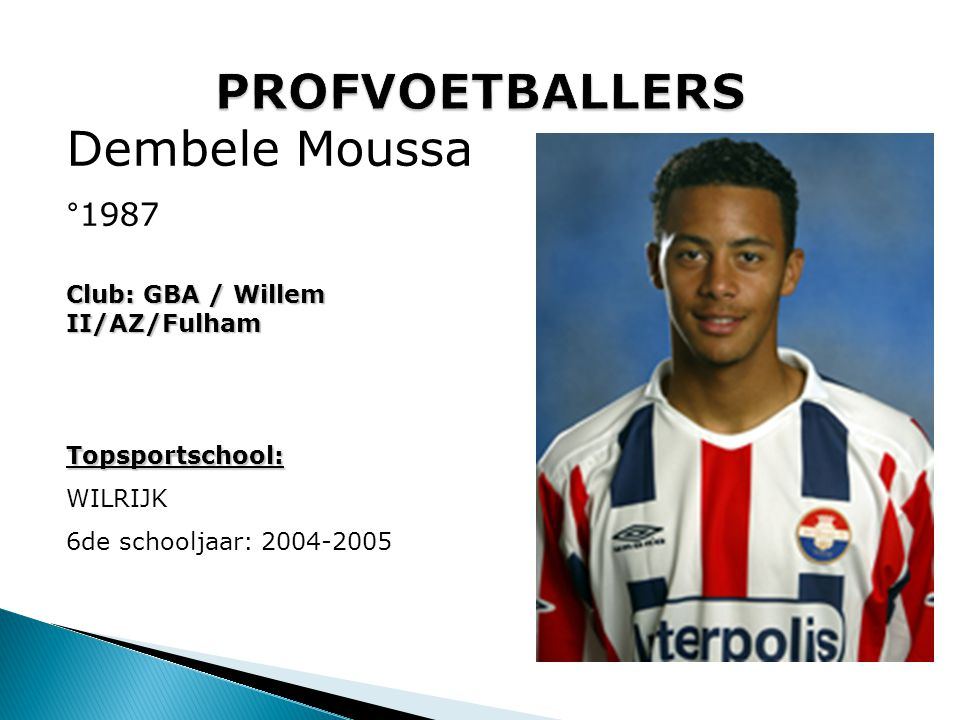 PROFVOETBALLERS Dembele Moussa °1987 Club: GBA / Willem II/AZ/Fulham