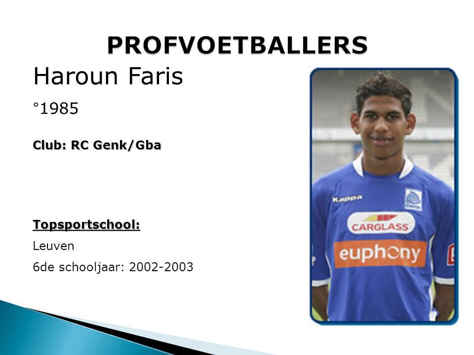 PROFVOETBALLERS Haroun Faris °1985 Club: RC Genk/Gba Topsportschool: