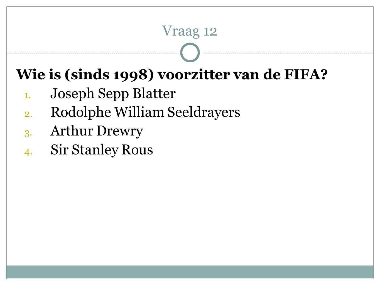 Vraag 12 Wie is (sinds 1998) voorzitter van de FIFA