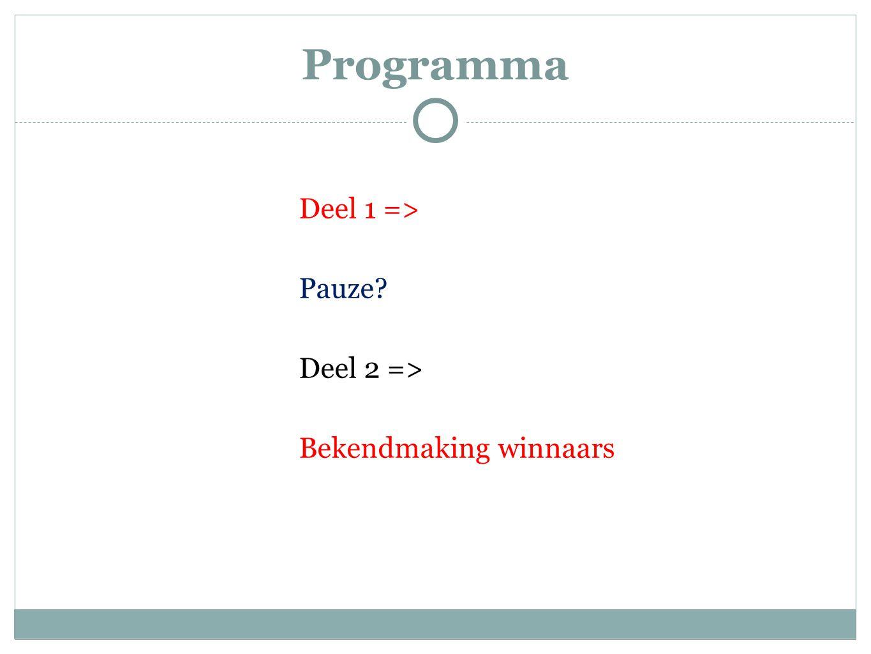 Programma Deel 1 => Pauze Deel 2 => Bekendmaking winnaars