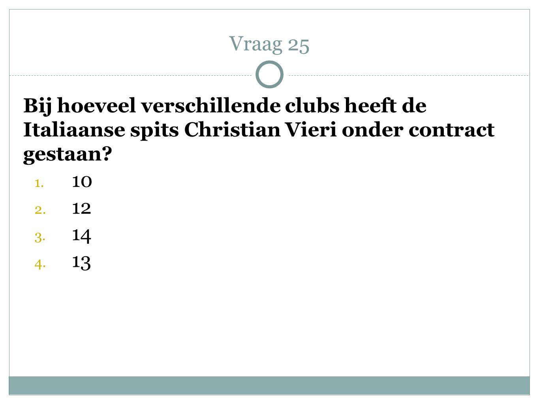 Vraag 25 Bij hoeveel verschillende clubs heeft de Italiaanse spits Christian Vieri onder contract gestaan