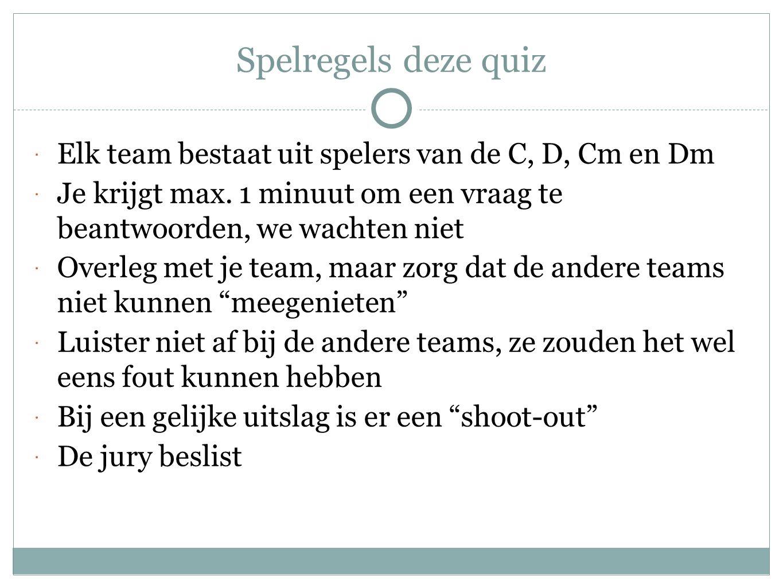 Spelregels deze quiz Elk team bestaat uit spelers van de C, D, Cm en Dm. Je krijgt max. 1 minuut om een vraag te beantwoorden, we wachten niet.