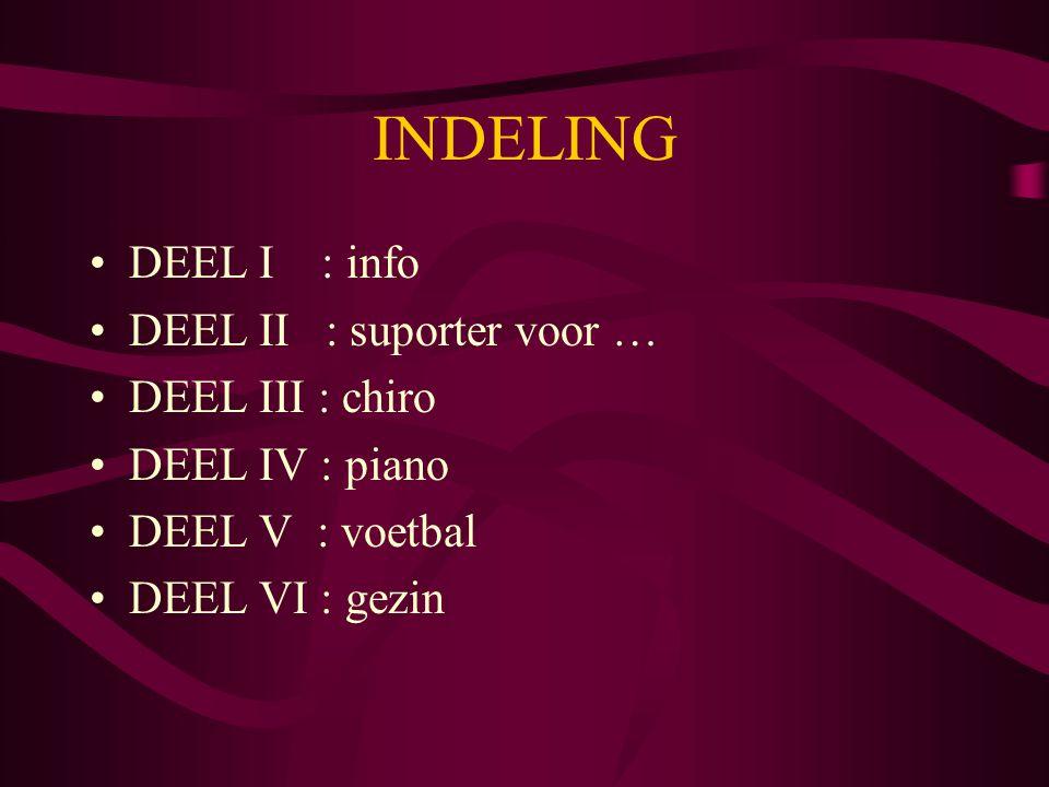INDELING DEEL I : info DEEL II : suporter voor … DEEL III : chiro
