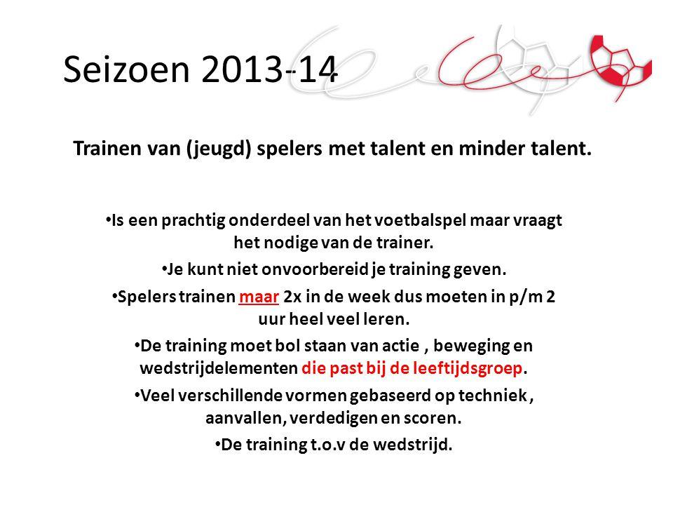 Seizoen 2013-14 Trainen van (jeugd) spelers met talent en minder talent.