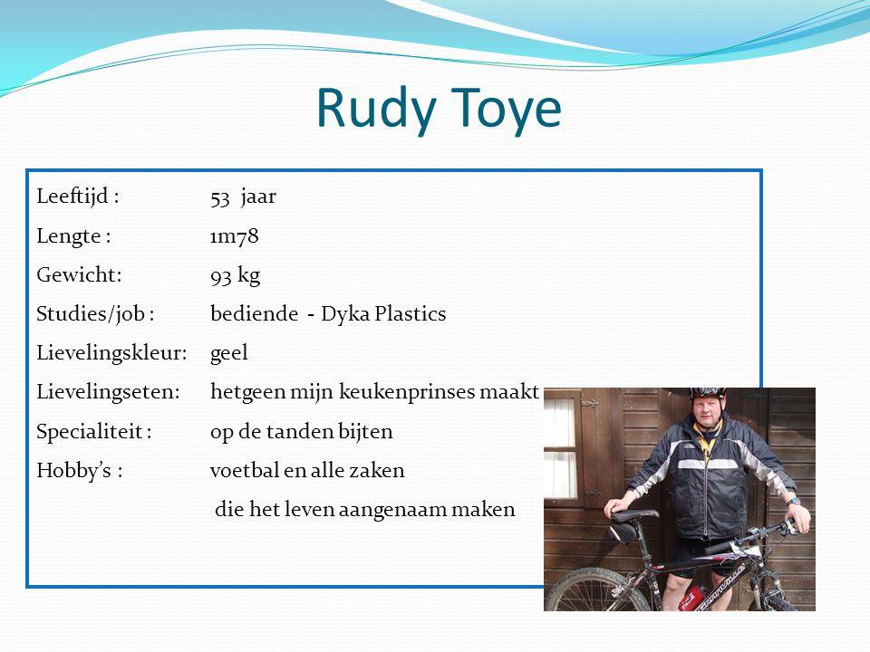 Rudy Toye Leeftijd : 53 jaar Lengte : 1m78 Gewicht: 93 kg