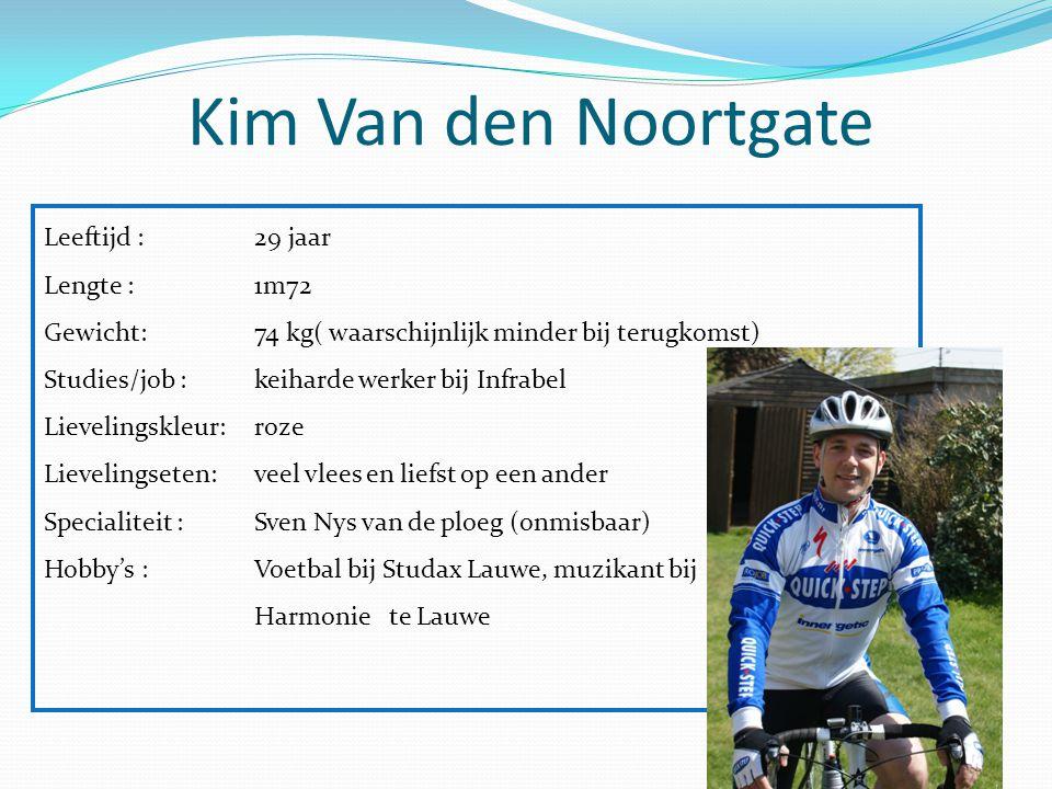 Kim Van den Noortgate Leeftijd : 29 jaar Lengte : 1m72