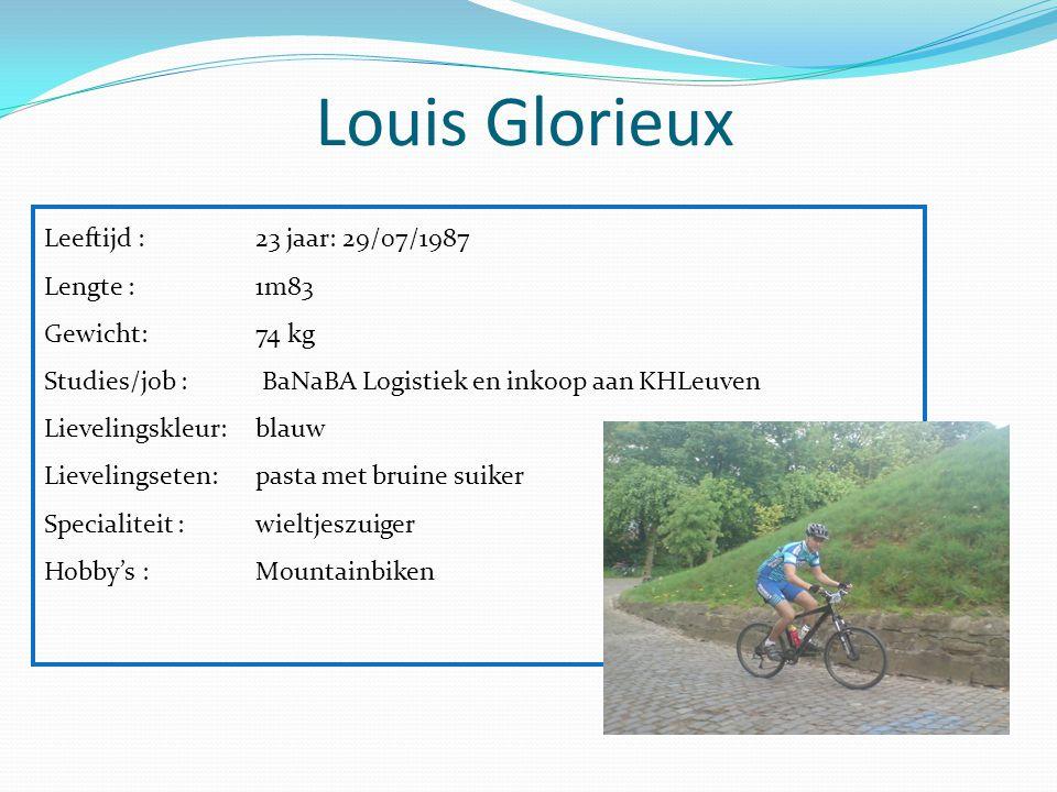 Louis Glorieux Leeftijd : 23 jaar: 29/07/1987 Lengte : 1m83