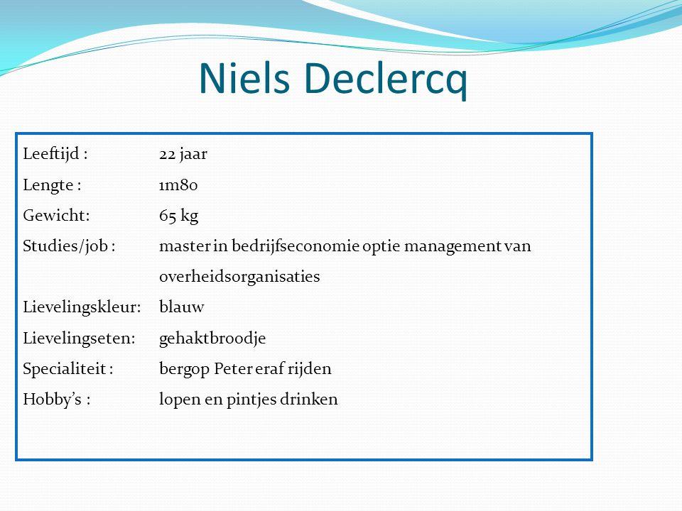 Niels Declercq Leeftijd : 22 jaar Lengte : 1m80 Gewicht: 65 kg