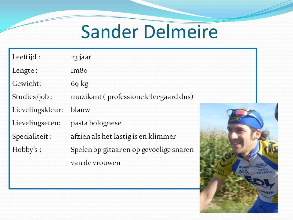 Sander Delmeire Leeftijd : 23 jaar Lengte : 1m80 Gewicht: 69 kg