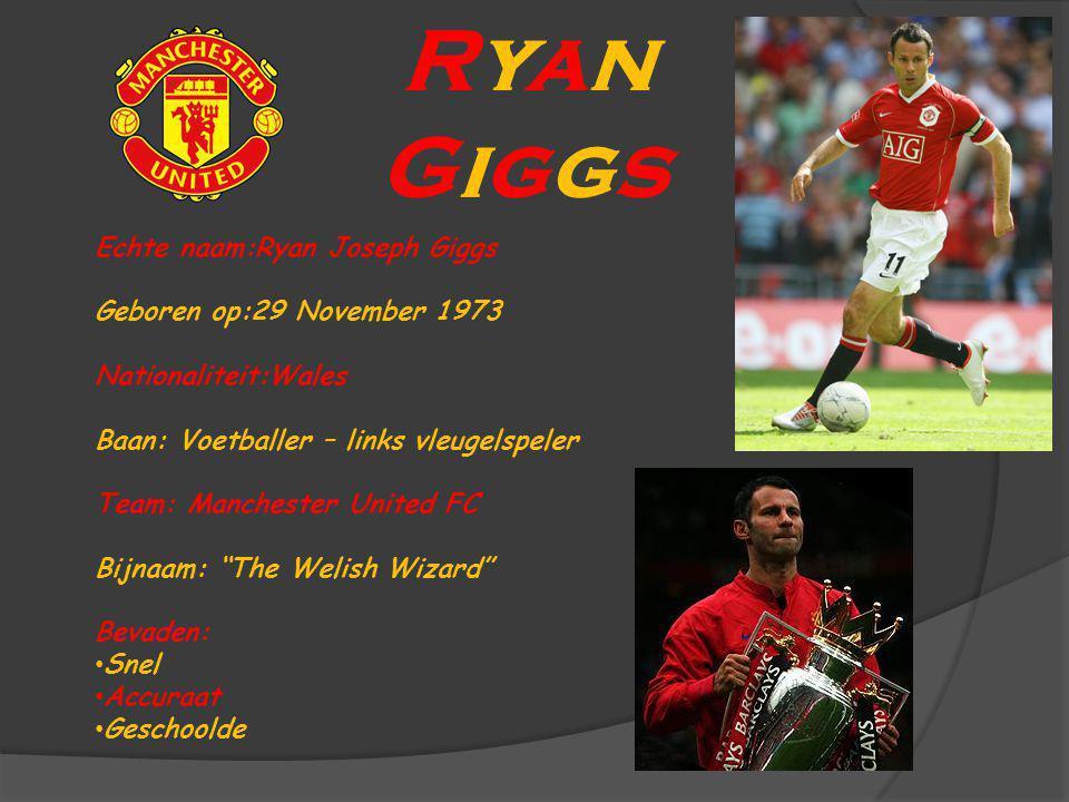 Ryan Giggs Echte naam:Ryan Joseph Giggs Geboren op:29 November 1973